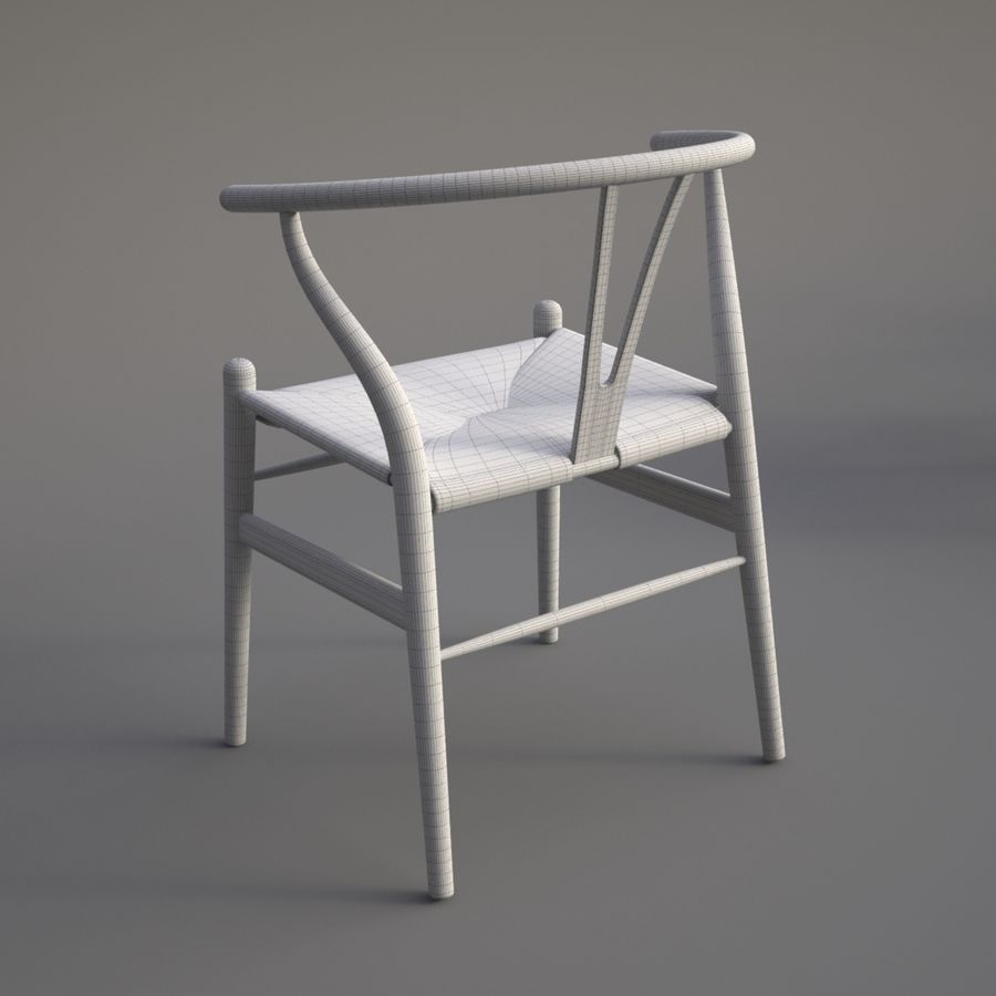 Wishbone Chair royalty-free 3d model - Preview no. 8