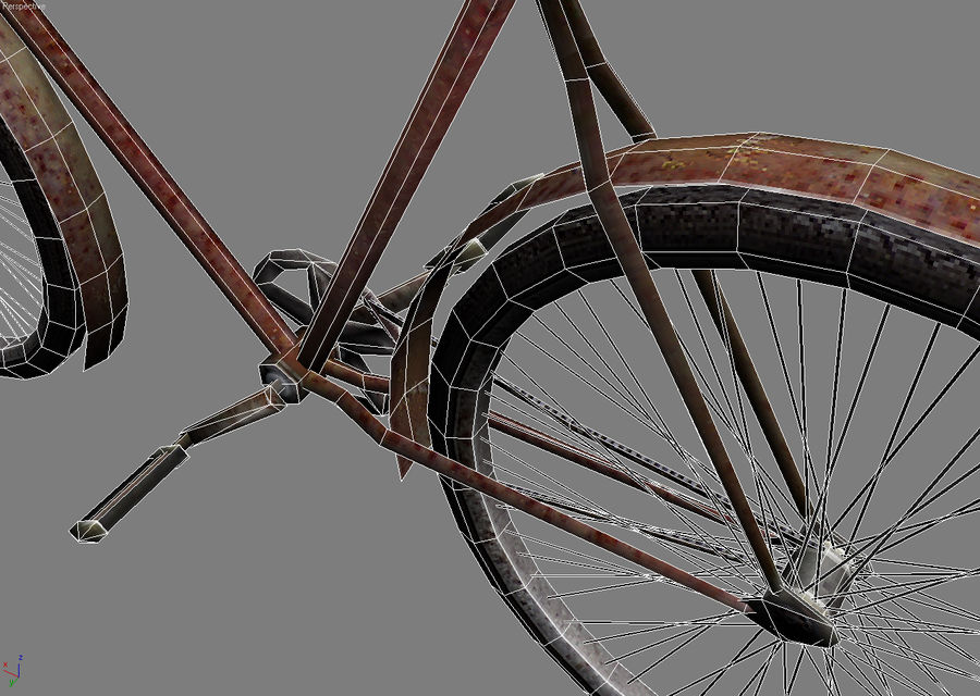 Old bicycle royalty-free 3d model - Preview no. 7