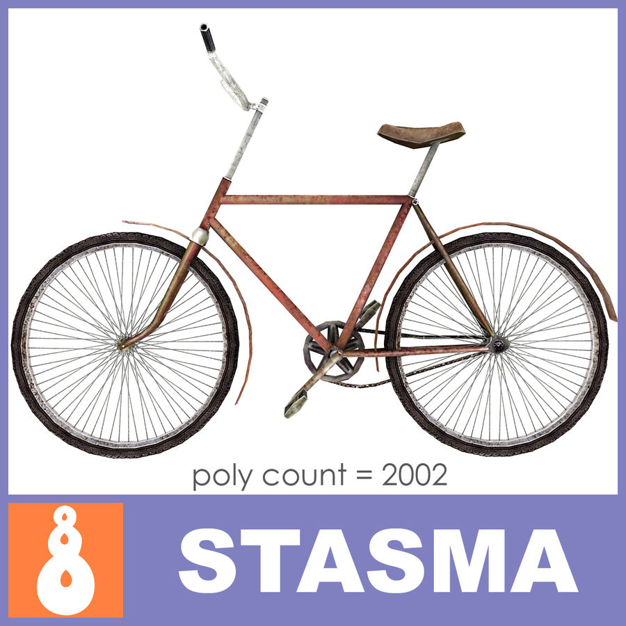 Old bicycle royalty-free 3d model - Preview no. 1