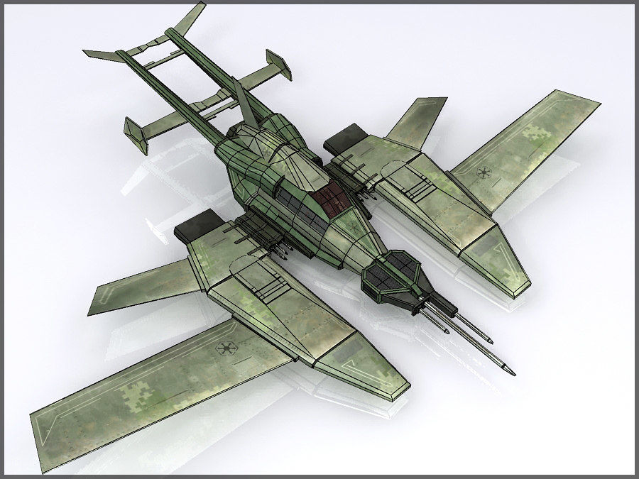 High Tech Plane, Low Poly, Textured royalty-free 3d model - Preview no. 1