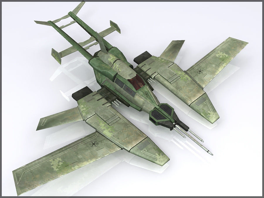 High Tech Plane, Low Poly, Textured royalty-free 3d model - Preview no. 6