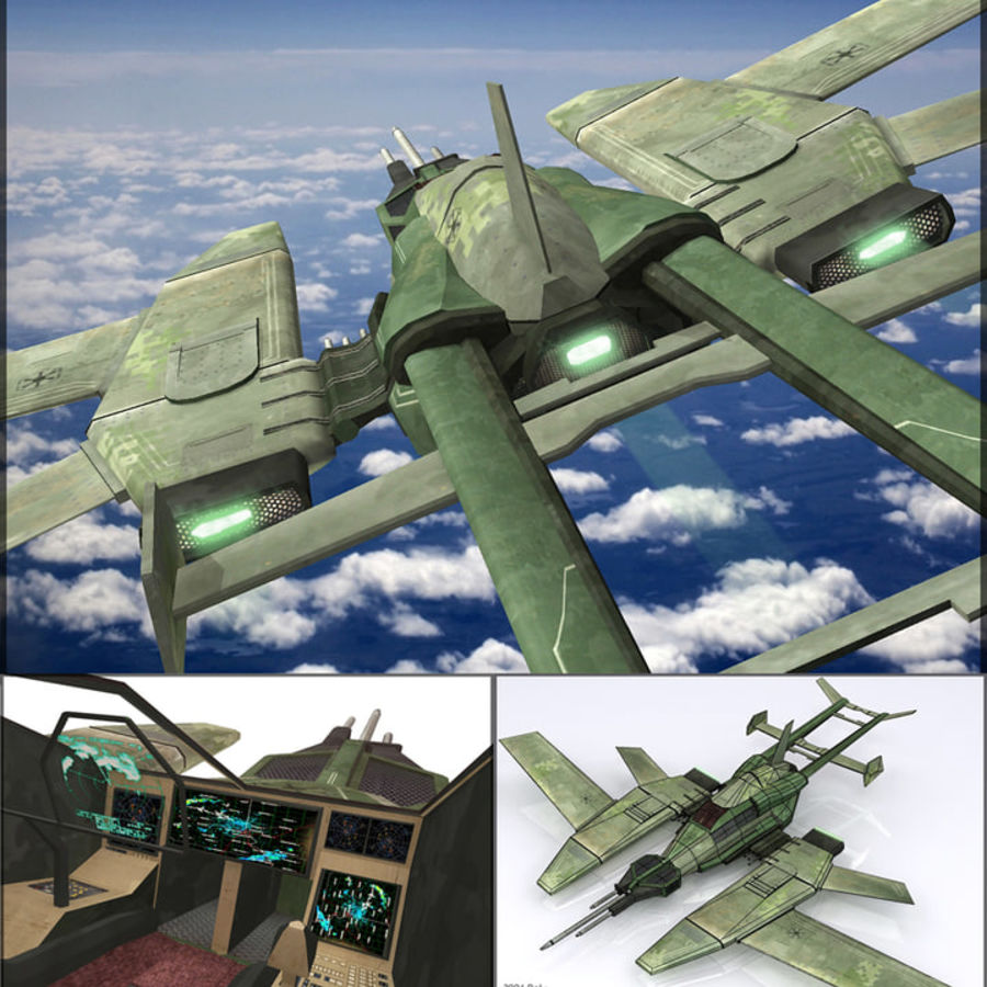 High Tech Plane, Low Poly, Textured royalty-free 3d model - Preview no. 16