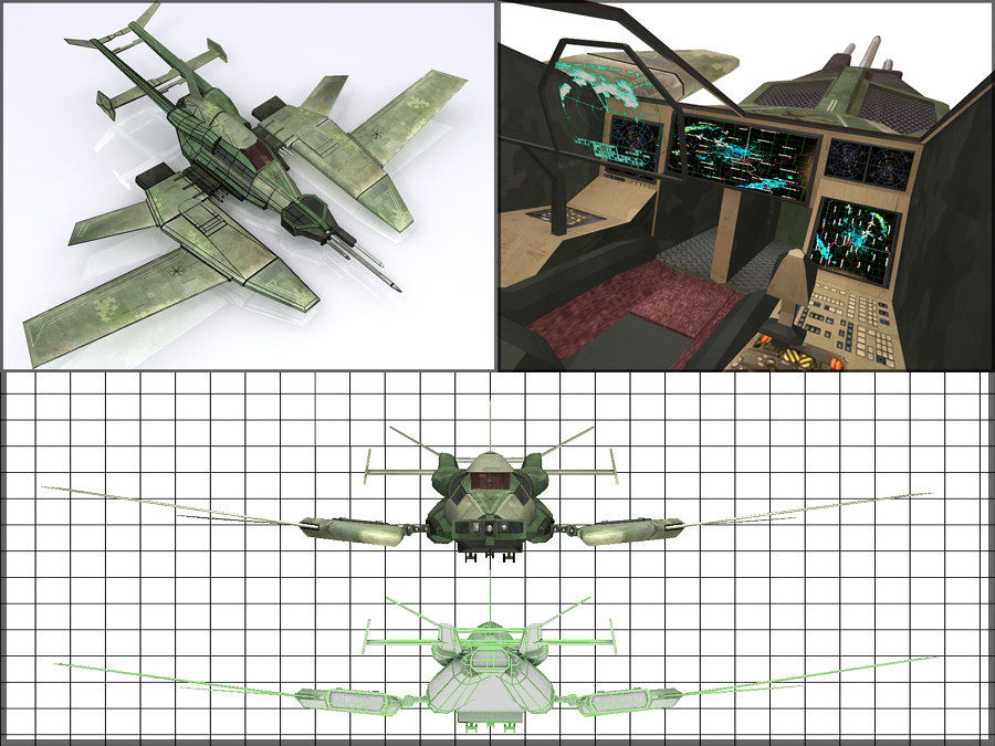 High Tech Plane, Low Poly, Textured royalty-free 3d model - Preview no. 15