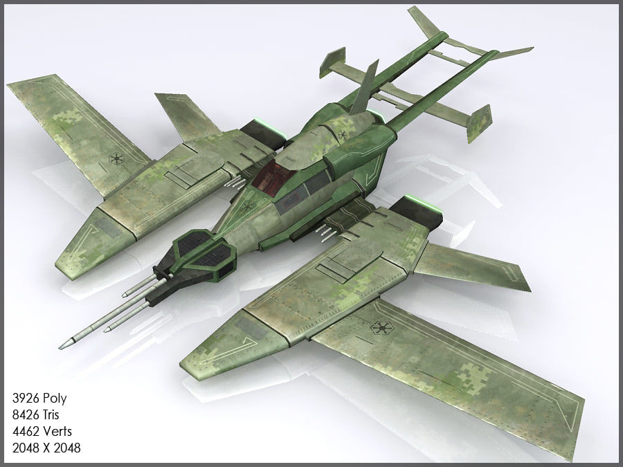 High Tech Plane, Low Poly, Textured royalty-free 3d model - Preview no. 3