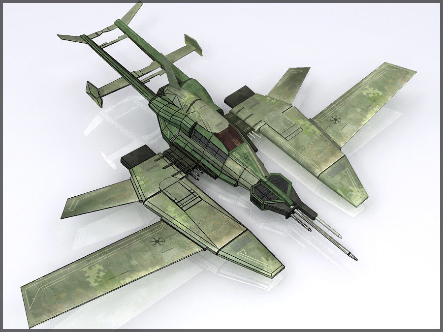 High Tech Plane, Low Poly, Textured royalty-free 3d model - Preview no. 14