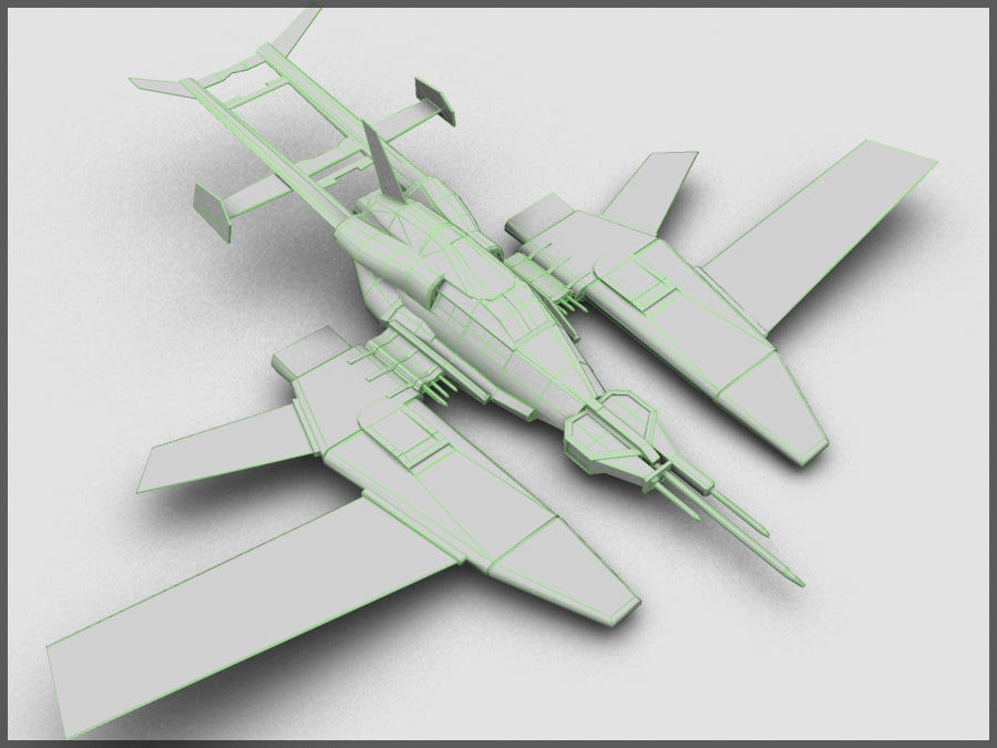High Tech Plane, Low Poly, Textured royalty-free 3d model - Preview no. 7