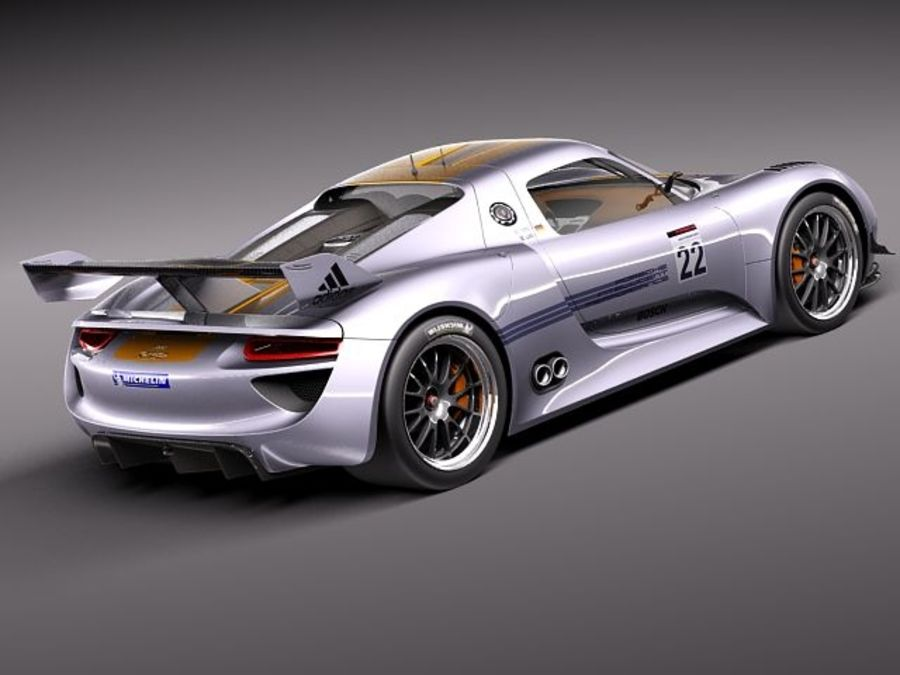 Porsche 918 RSR 2012 royalty-free 3d model - Preview no. 6