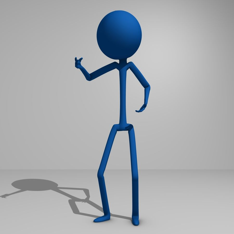 Stickman royalty-free 3d model - Preview no. 3