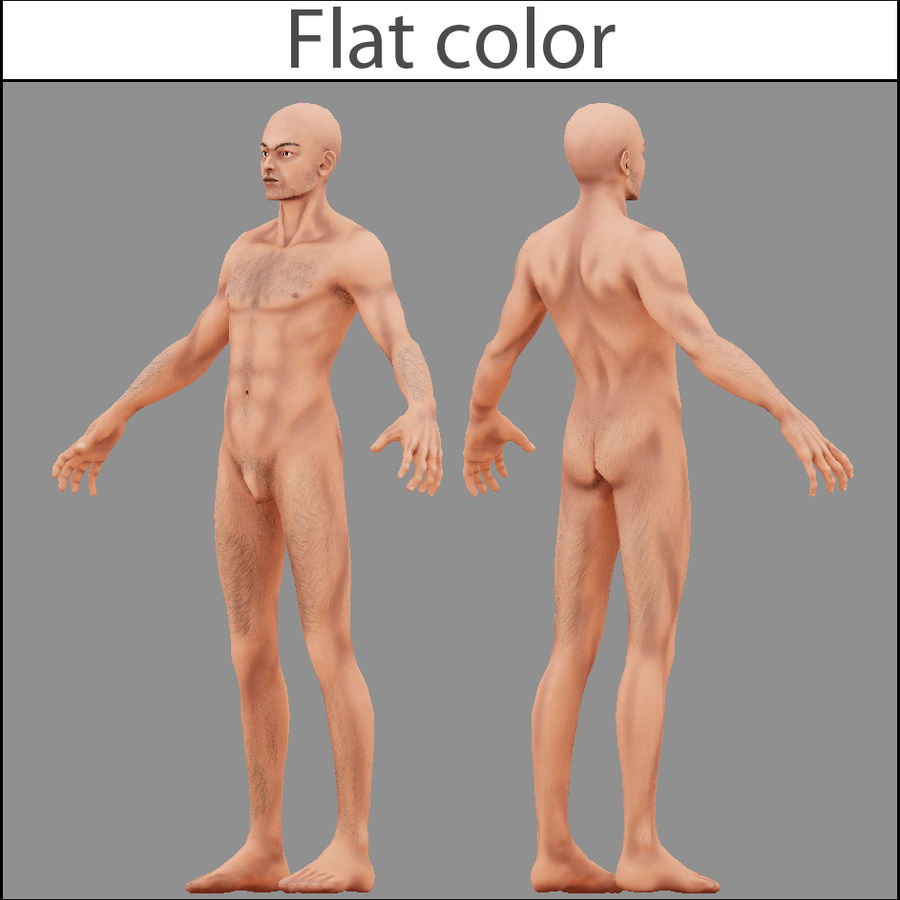 Human Male Bas Naked royalty-free 3d model - Preview no. 2