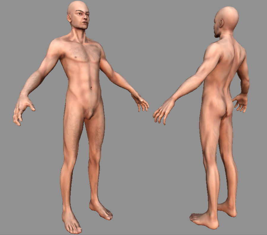 Human Male Bas Naked royalty-free 3d model - Preview no. 1
