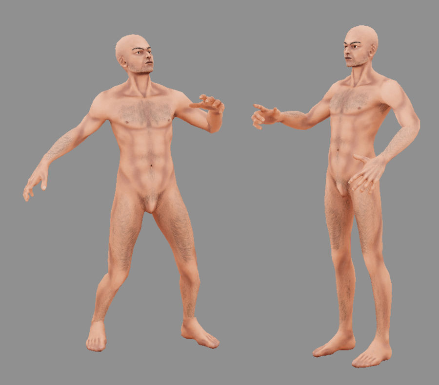 Human Male Bas Naked royalty-free 3d model - Preview no. 8