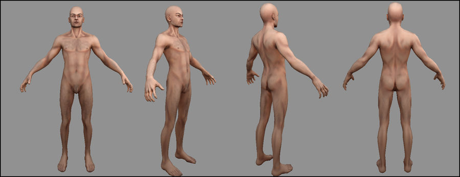 Human Male Bas Naked royalty-free 3d model - Preview no. 10