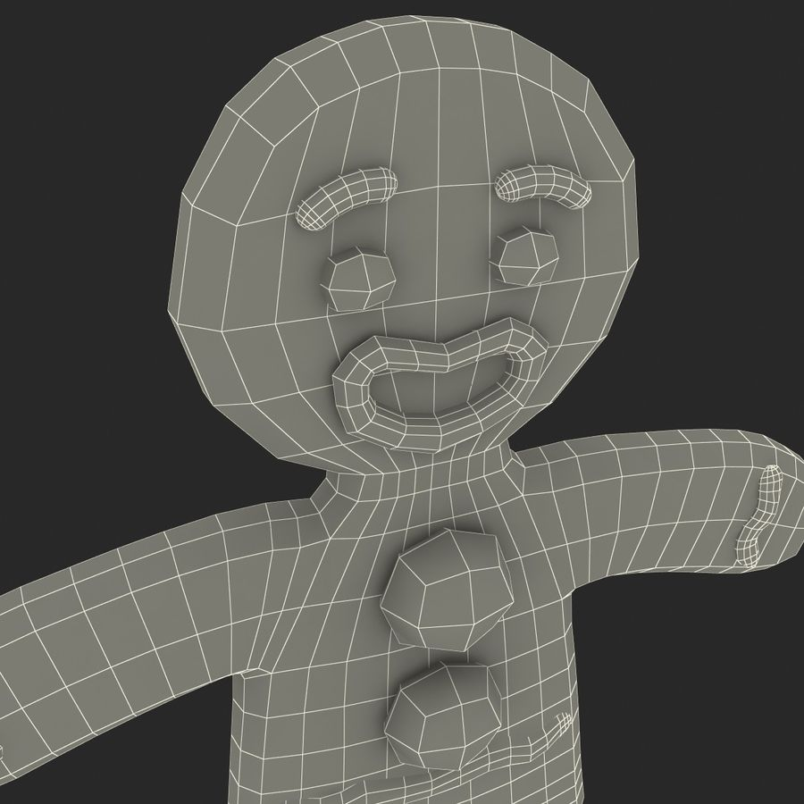 Gingerbread Man Static royalty-free 3d model - Preview no. 13