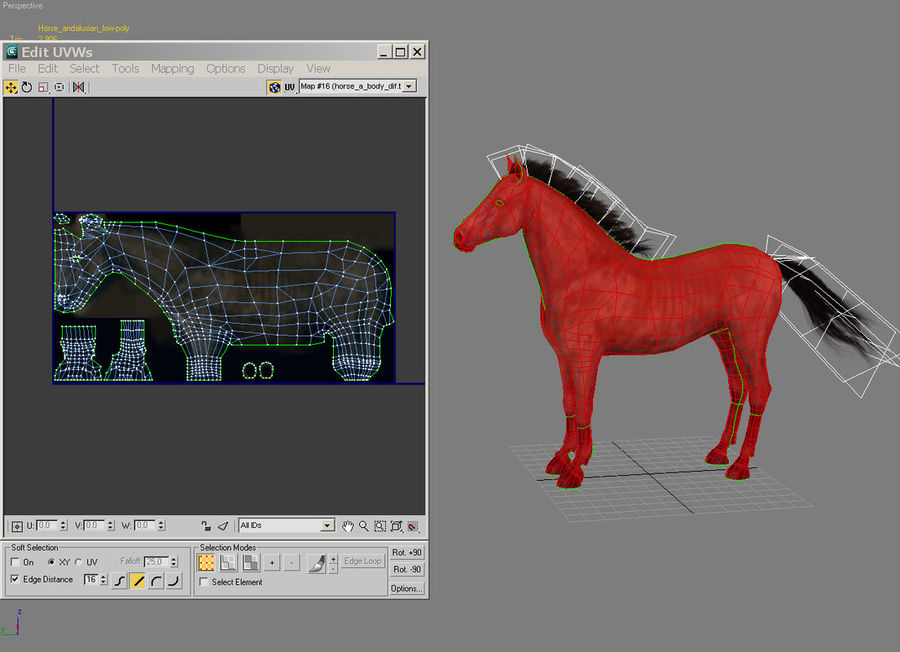 Horse andalusian royalty-free 3d model - Preview no. 4