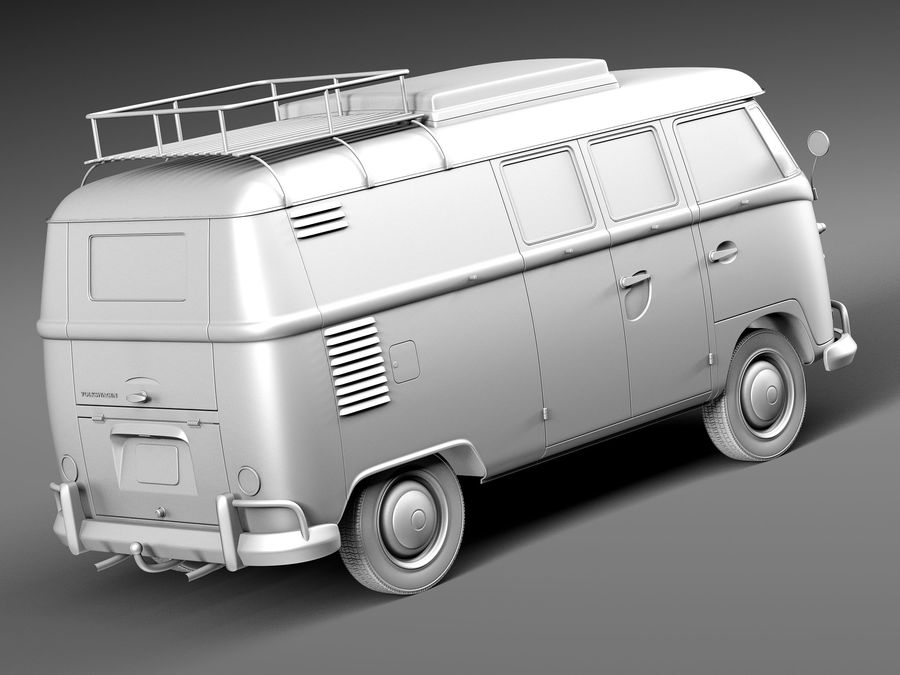 Volkswagen Camper Van 1950 royalty-free 3d model - Preview no. 12