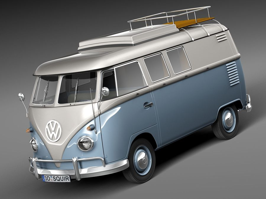 Volkswagen Camper Van 1950 royalty-free 3d model - Preview no. 1