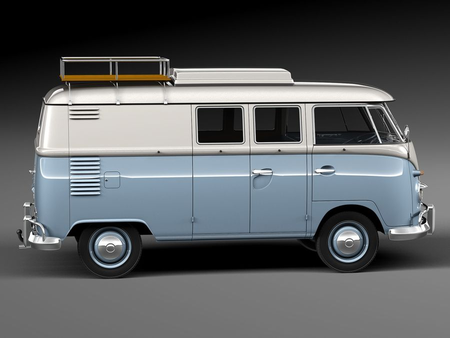 Volkswagen Camper Van 1950 royalty-free 3d model - Preview no. 7