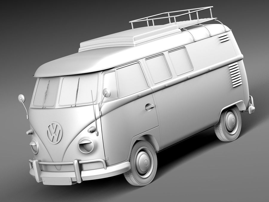 Volkswagen Camper Van 1950 royalty-free 3d model - Preview no. 9