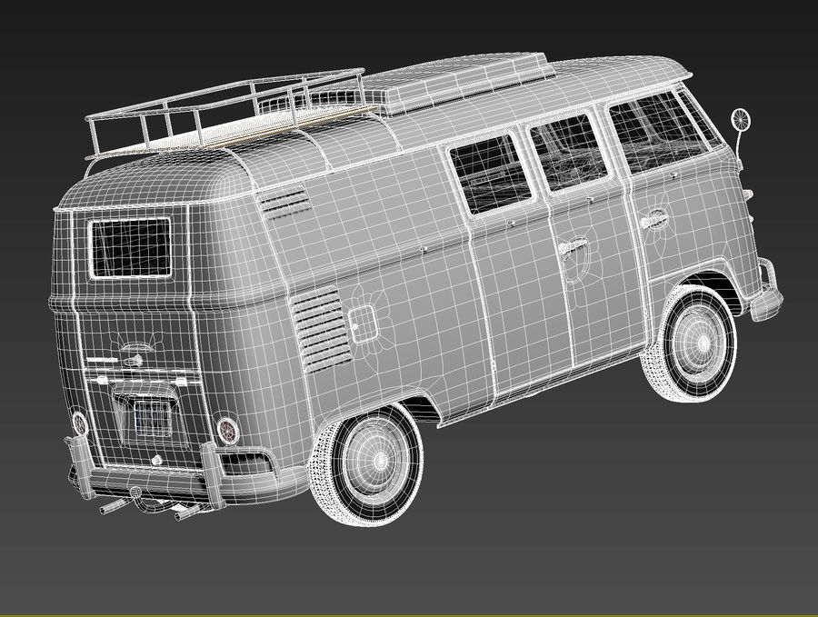 Volkswagen Camper Van 1950 royalty-free 3d model - Preview no. 16
