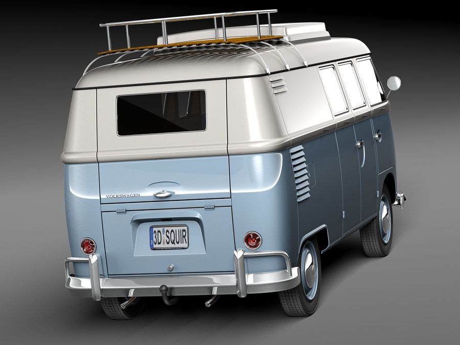 Volkswagen Camper Van 1950 royalty-free 3d model - Preview no. 6