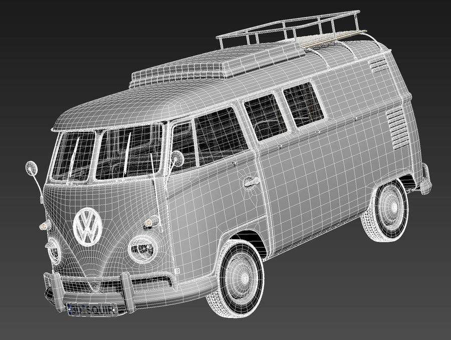 Volkswagen Camper Van 1950 royalty-free 3d model - Preview no. 15