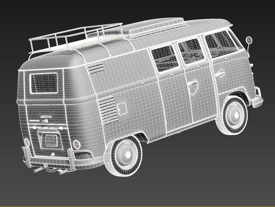 Volkswagen Camper Van 1950 royalty-free 3d model - Preview no. 17