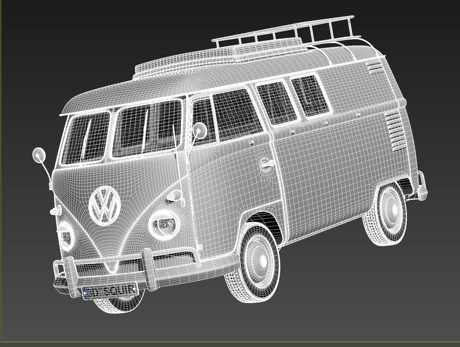 Volkswagen Camper Van 1950 royalty-free 3d model - Preview no. 18