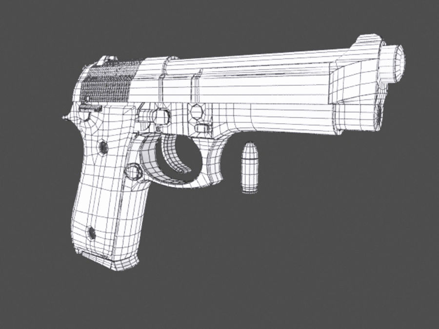 9mm | Taurus PT92 royalty-free 3d model - Preview no. 7