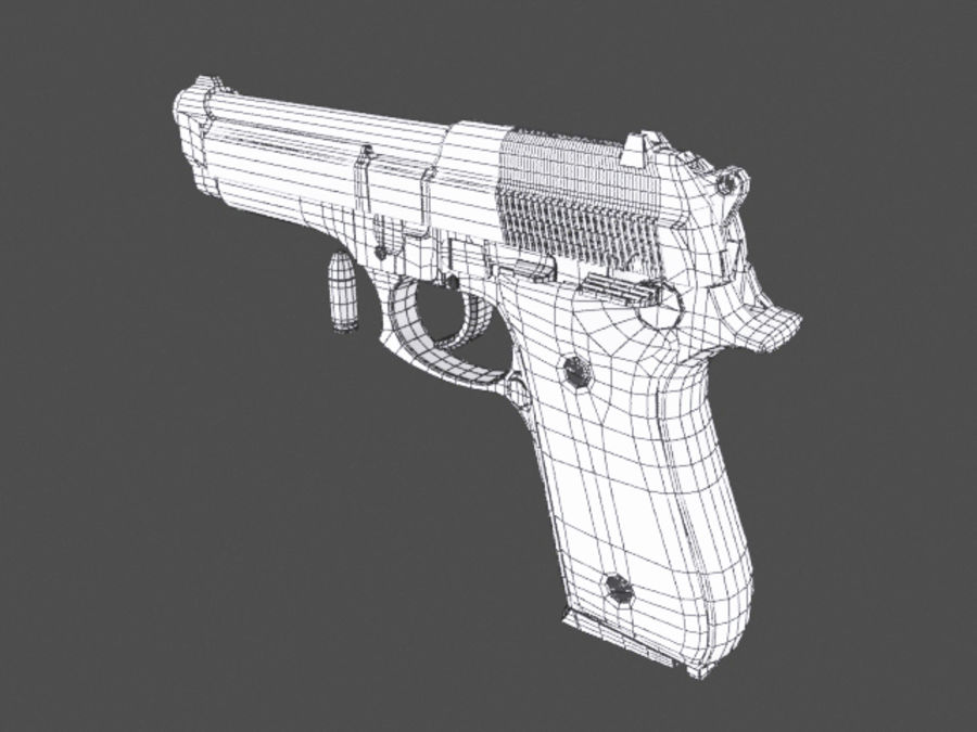 9mm | Taurus PT92 royalty-free 3d model - Preview no. 8