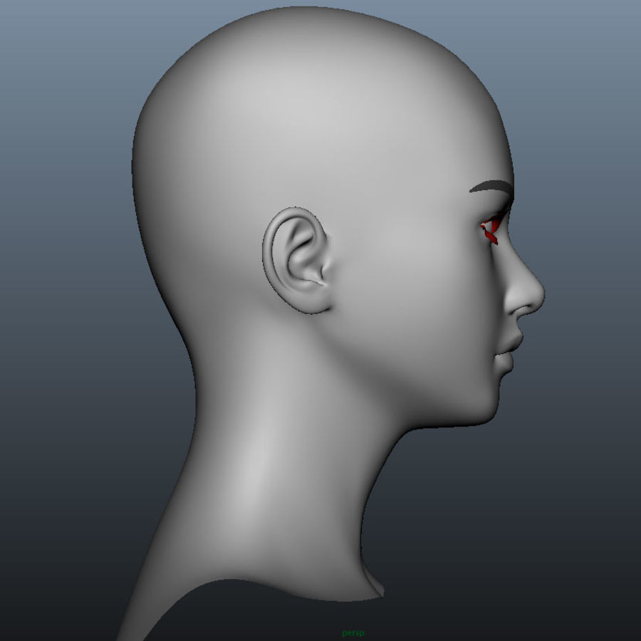 Girl Head royalty-free 3d model - Preview no. 3