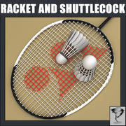 Badminton Racket and Shuttlecock 3d model