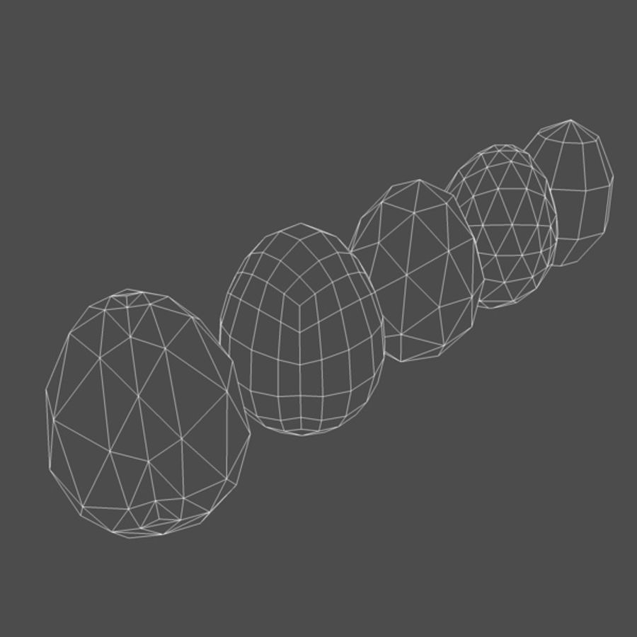 Easter Eggs (5 types) royalty-free 3d model - Preview no. 2