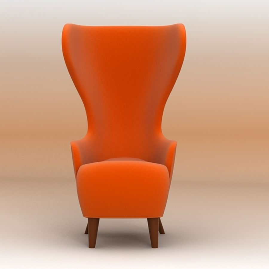 Wing Back Chair royalty-free 3d model - Preview no. 3