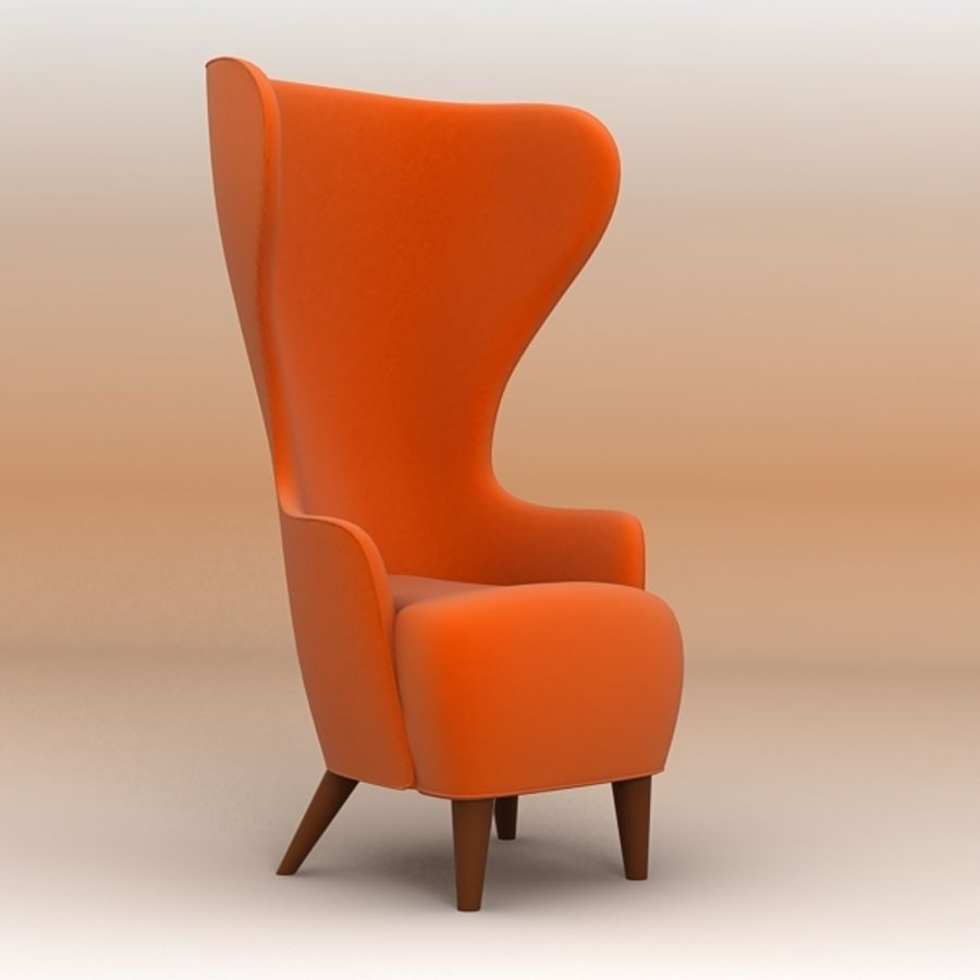 Wing Back Chair royalty-free 3d model - Preview no. 2
