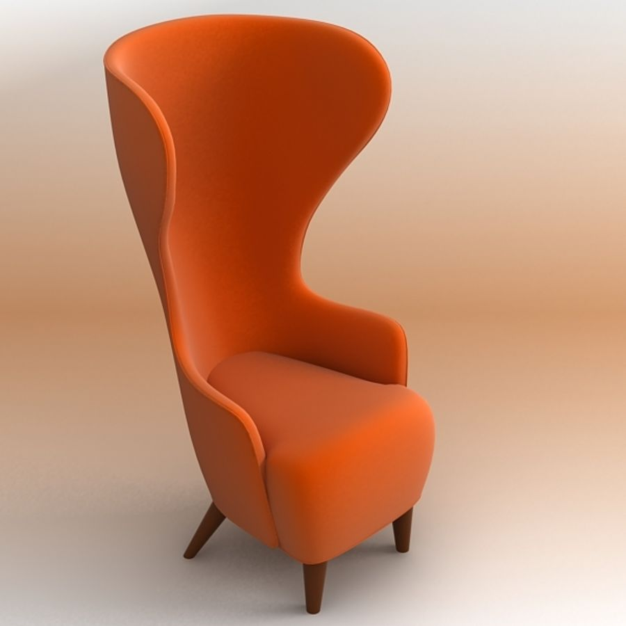 Wing Back Chair royalty-free 3d model - Preview no. 1
