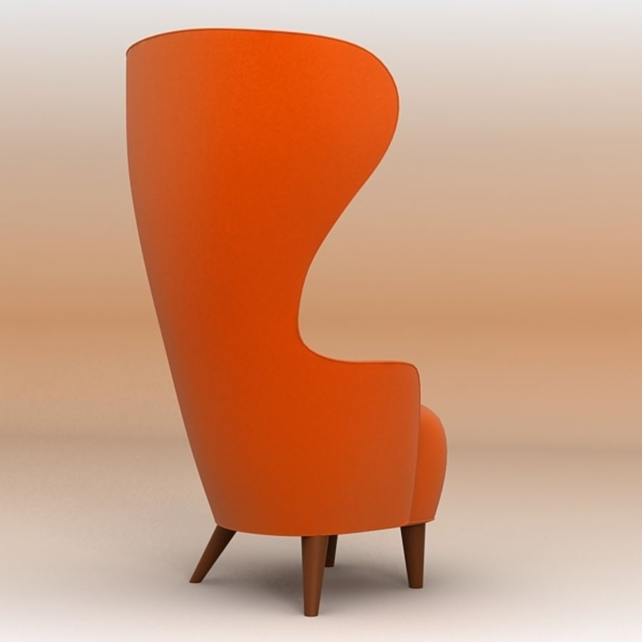 Wing Back Chair royalty-free 3d model - Preview no. 4