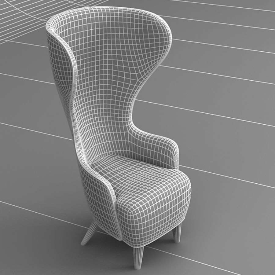 Wing Back Chair royalty-free 3d model - Preview no. 5