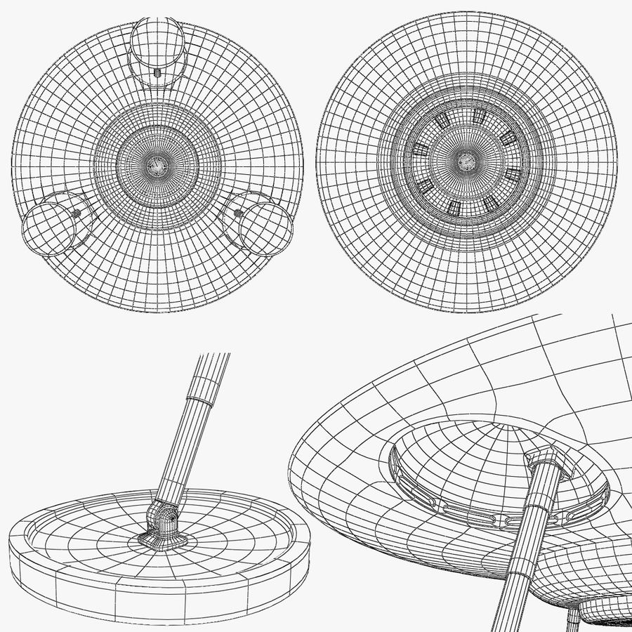 Classic Flying Saucer UFO royalty-free 3d model - Preview no. 5