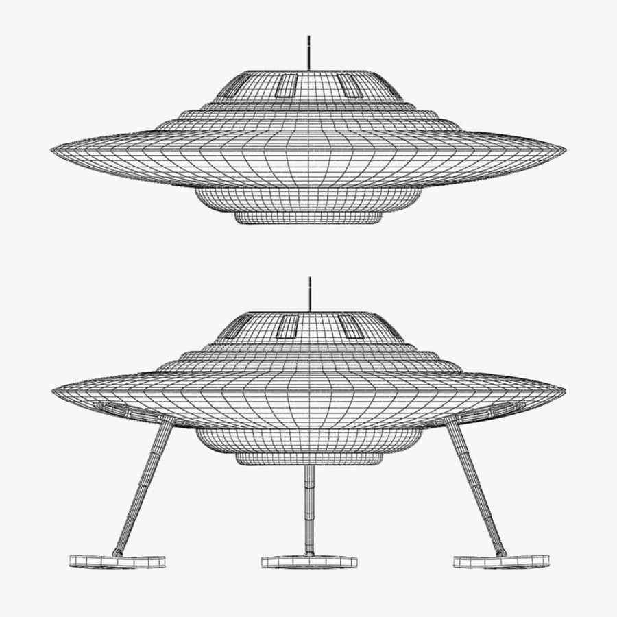 Classic Flying Saucer UFO royalty-free 3d model - Preview no. 6