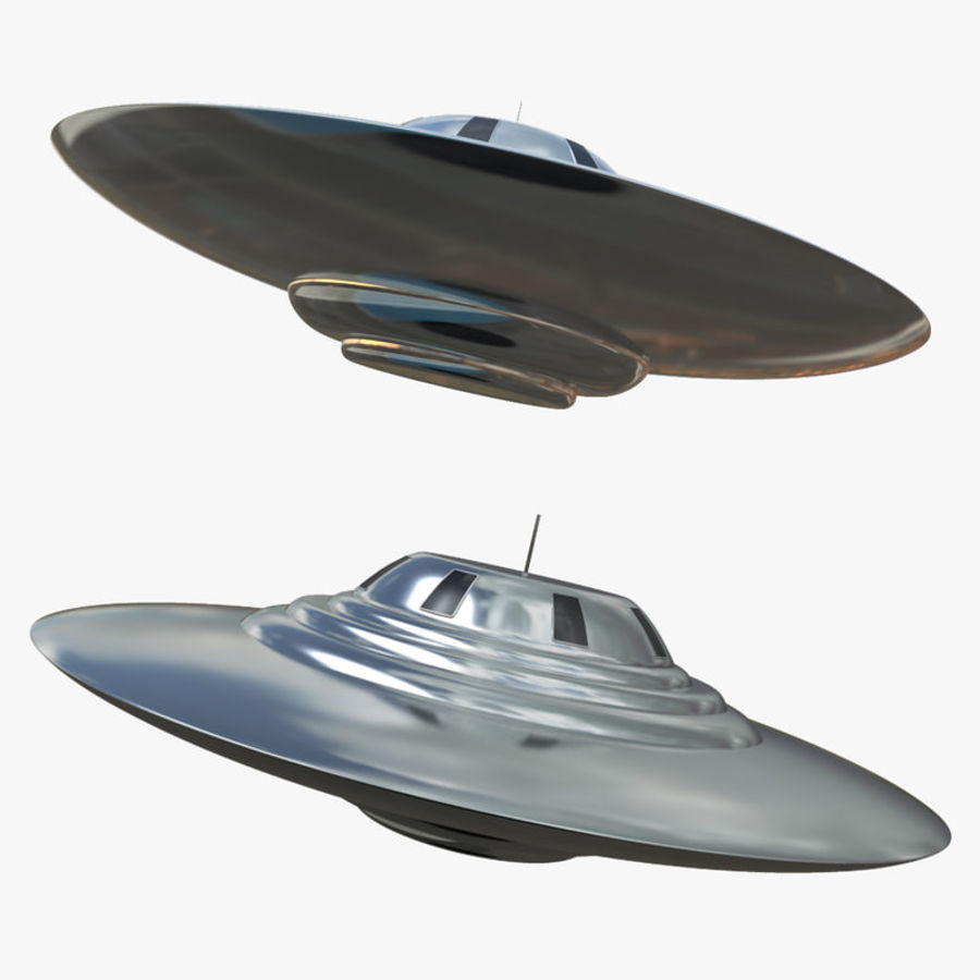 Classic Flying Saucer UFO royalty-free 3d model - Preview no. 4
