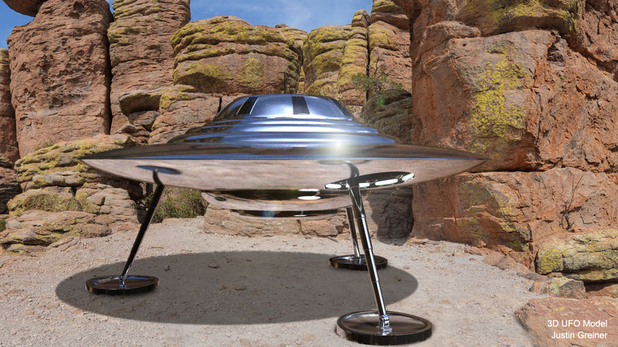 Classic Flying Saucer UFO royalty-free 3d model - Preview no. 3