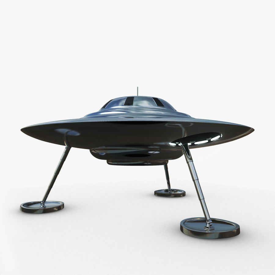 Classic Flying Saucer UFO royalty-free 3d model - Preview no. 1