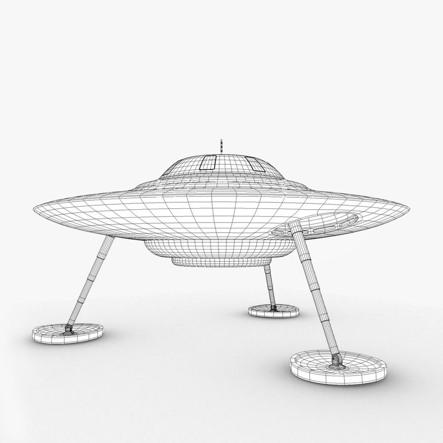 Classic Flying Saucer UFO royalty-free 3d model - Preview no. 2