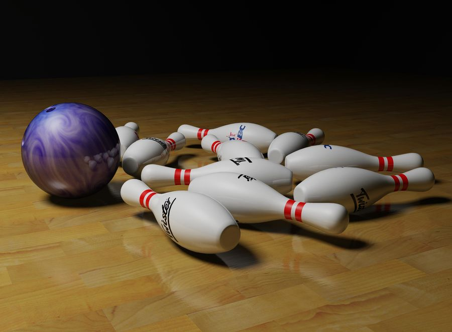 Bowling ball and pins royalty-free 3d model - Preview no. 4