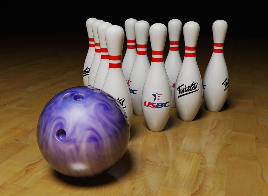 Bowling ball and pins royalty-free 3d model - Preview no. 1