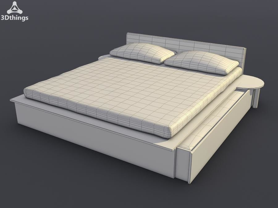 Sacramento Maple Double Bed With Storage And Sprung Mattress 3d Model