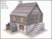 Colonial Log House, Low Poly, Textured 3d model