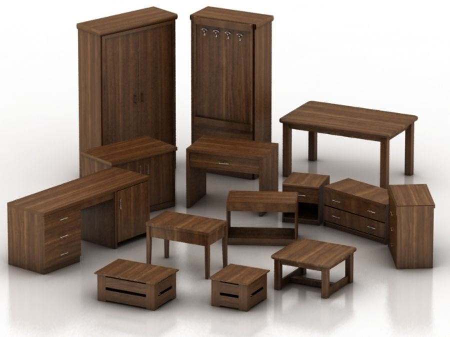 Wood Furniture Collection royalty-free 3d model - Preview no. 2