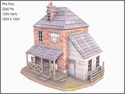 Colonial Brick House, Low Poly, Textured 3d model