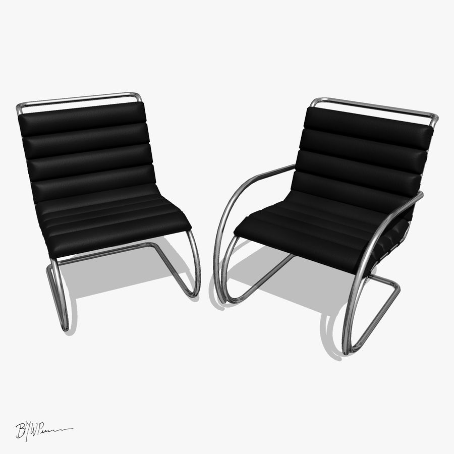 MR stol och MR stol med armar royalty-free 3d model - Preview no. 9